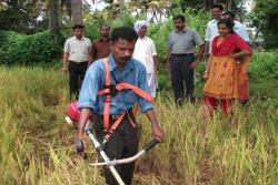 Demonstration of Grass Cutting Machine developed by KVK